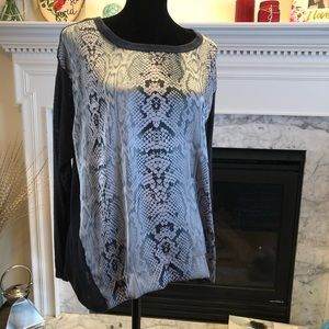 Bobeau Snakeprint Silk Blouse